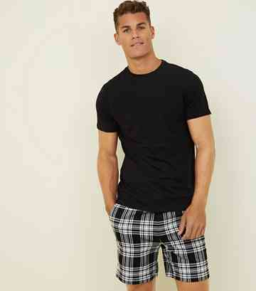 Black Monochrome Check Pull On Shorts