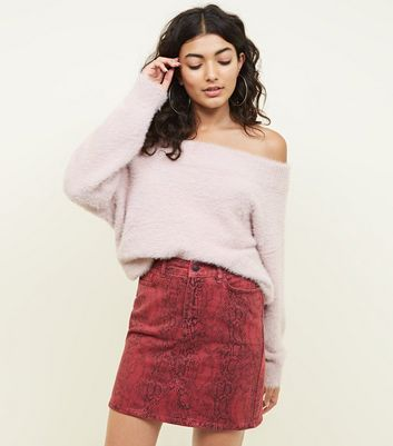 Red Snake Print Denim Skirt