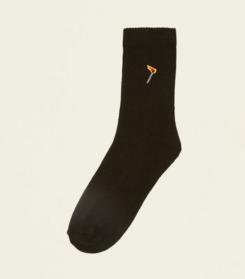 Black Flaming Match Embroidered Socks