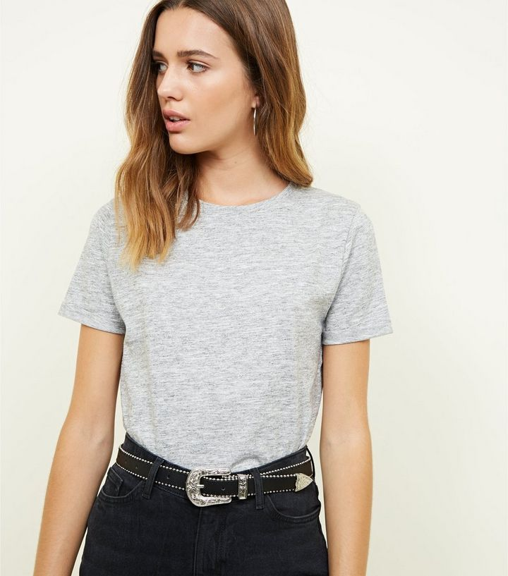 8d095581 Grey Marl Roll Sleeve T-Shirt | New Look