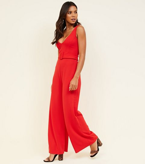 ... Red Belted Wide Leg Jumpsuit ... 03bc09b6d130b