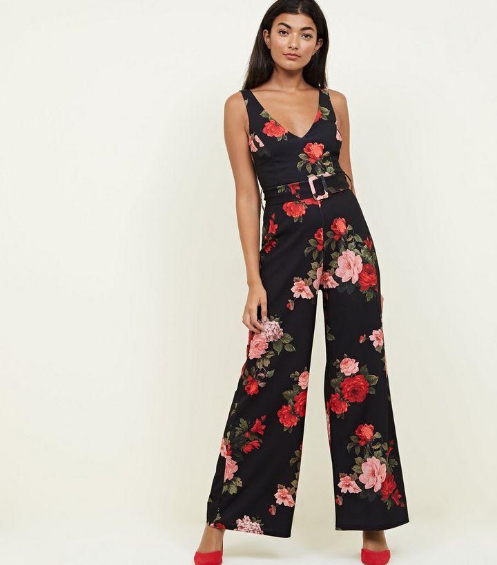 e124a081c3 Black Floral Belted Wide Leg Jumpsuit