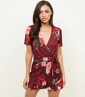 Red Floral Wrap Front Frill Hem Playsuit