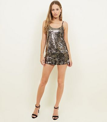 Brown Leopard Sequin Shorts