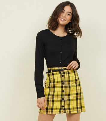 Yellow Check Button Front Belted Mini Skirt