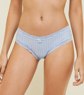 Pale Blue Mesh Stripe Bikini Briefs