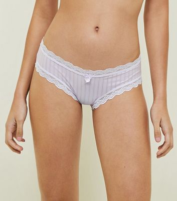 Light Purple Mesh Stripe Bikini Briefs