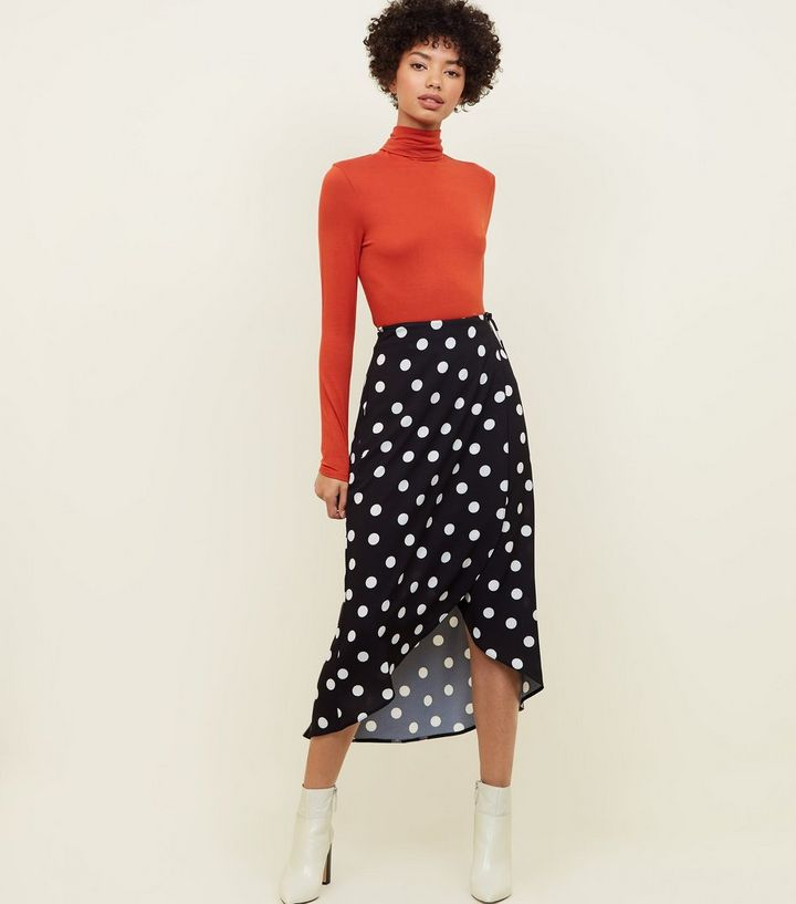 wide selection of colors select for official search for original Black Spot Print Wrap Midi Skirt Add to Saved Items Remove from Saved Items