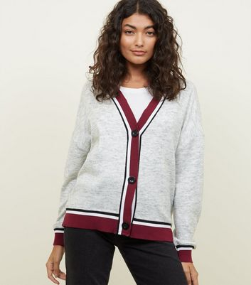 Light Grey Contrast Ribbed Trim Cardigan