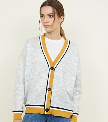 Mustard and Grey Contrast Edge Cardigan