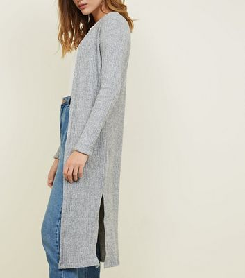 Pale Grey Brushed Fine Knit Longline Cardigan