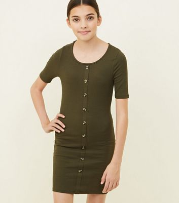 Girls Khaki Button Front Bodycon Dress