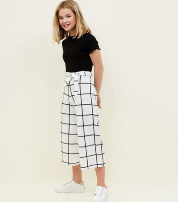 Girls White Grid Check Culottes