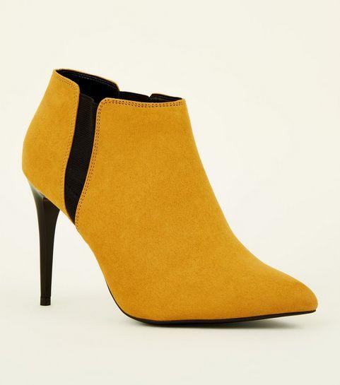 965a49ca994f ... Mustard Suedette Stiletto Heel Chelsea Shoe Boots ...