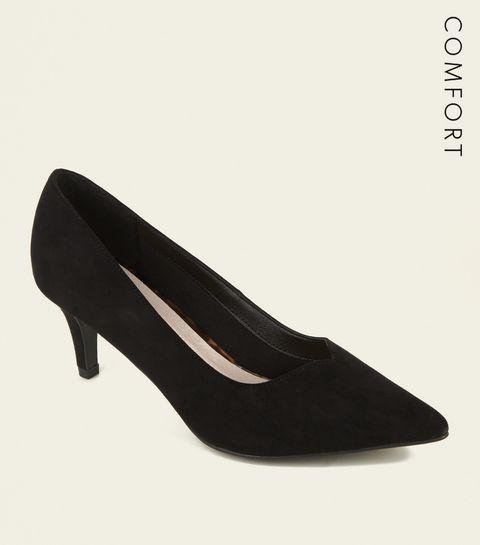45ef9c79b3c8 ... Black Comfort Flex V Front Kitten Heels ...