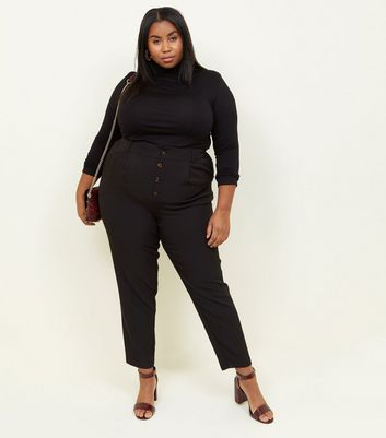 Curves Black Button Front Tapered Trousers
