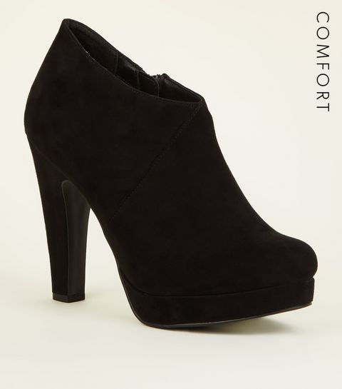 ef46065dd2c9 ... Black Comfort Suedette Platform Shoe Boots ...