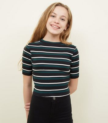 Girls Green Ribbed Stripe T-Shirt