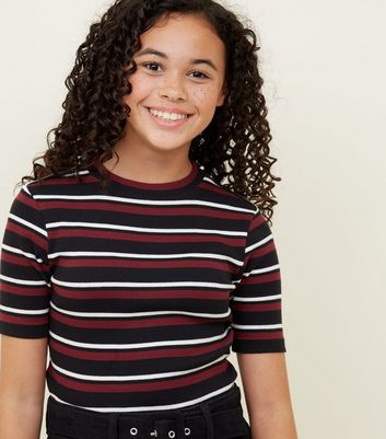 Girls Red Ribbed Stripe T-Shirt