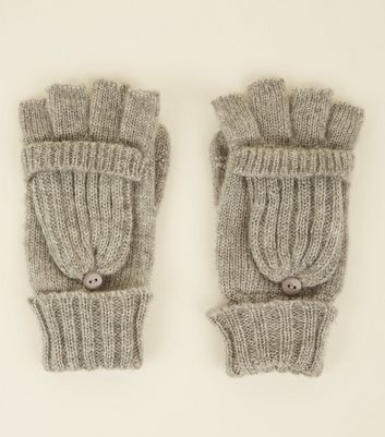Grey Knitted Flip Top Gloves