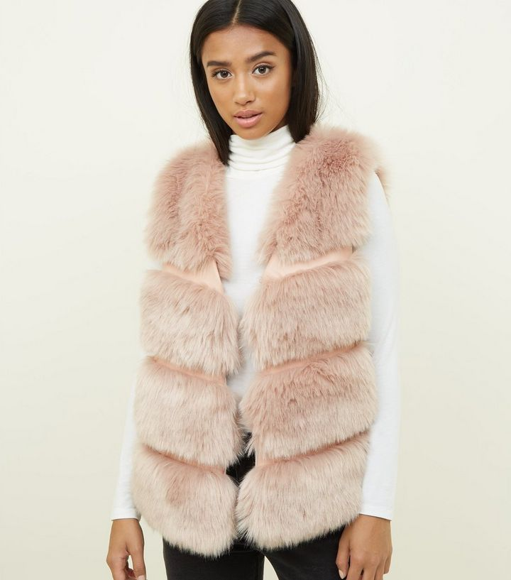 9dae4402a68 Petite Pale Pink Pelted Faux Fur Gilet Add to Saved Items Remove from Saved  Items