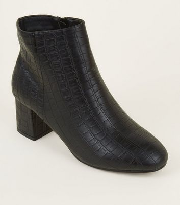 Wide Fit Black Faux Croc Block Heel Ankle Boots