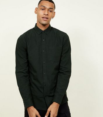 Dark Green Check Long Sleeve Cotton Shirt