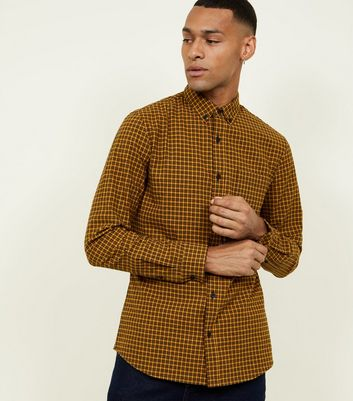 Yellow Check Long Sleeve Cotton Shirt