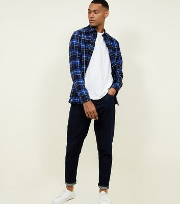 Bright Blue Long Sleeve Check Cotton Shirt