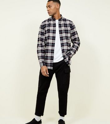 Black Long Sleeve Check Cotton Shirt
