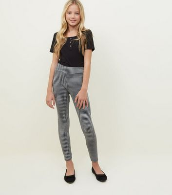 Girls Black Houndstooth Check Leggings