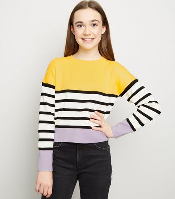 Girls Purple Colour Block Stripe Jumper