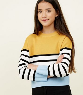 Girls Yellow Stripe Colour Block Jumper