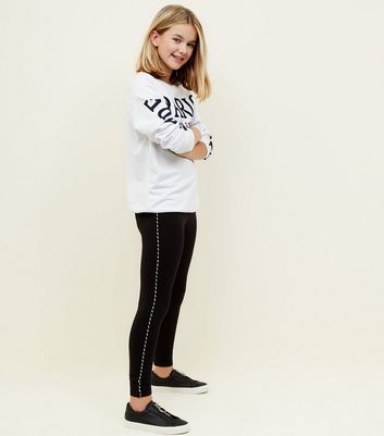 Girls Black Piped Twist Stripe Leggings