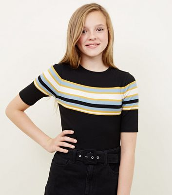 Girls Black Stripe Ribbed 1/2 Sleeve T-Shirt