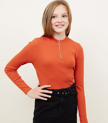 Girls Orange Ribbed Half Zip Long Sleeve Top