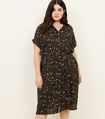 Curves Dark Green Animal Print Midi Shirt Dress
