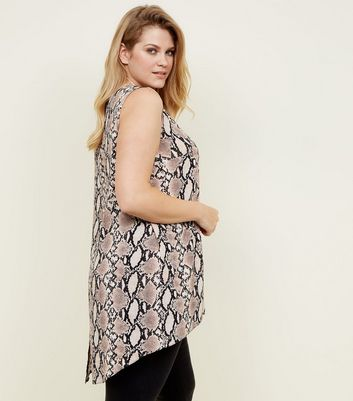 Curves Brown Snake Print Sleeveless Top