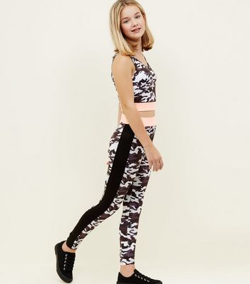 Girls Grey Camo Sports Leggings