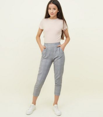 Girls Pink And Grey Check Slim Leg Trousers by New Look