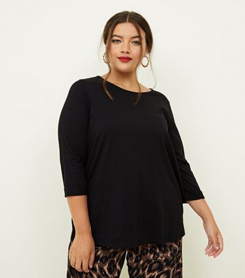 Curves Black Pocket Front Slouchy T-Shirt