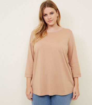 Curves Camel Pocket Front Slouchy T-Shirt