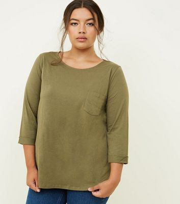 Curves Olive Green Pocket Front Slouchy T-Shirt