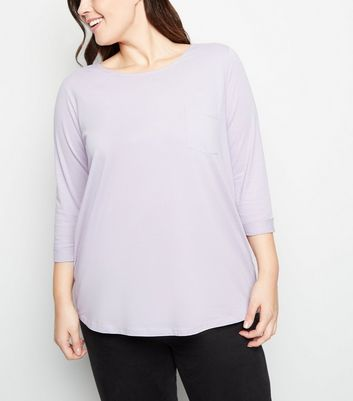 Curves Lilac Pocket Front Slouchy T-Shirt