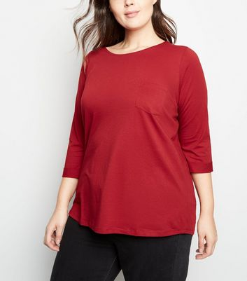 Curves Plum Pocket Front Slouchy T-Shirt