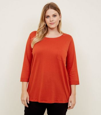 Curves Orange Pocket Front Slouchy T-Shirt