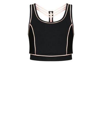 5c0c9af2ec946 Girls Black Piped Sleeveless Sports Top