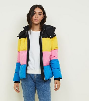 Black Rainbow Colour Block Puffer Jacket