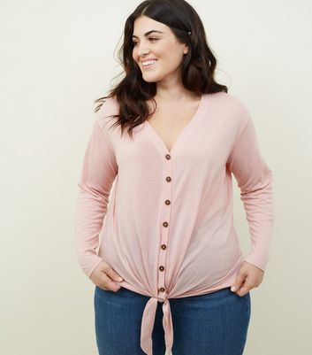 Curves Pink Tie Through Button Front Top