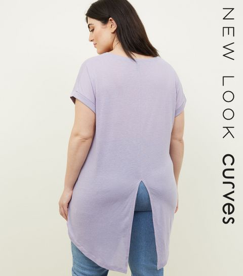 7a07e2eeda6e8 ... Curves Lilac Split Back Oversized T-Shirt ...